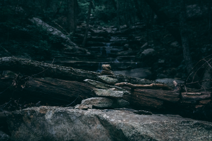 rocks,  nature,  walking trail,  stacked rocks,  trees,  forest,  woods,  stones, outdoors, camping, trekking