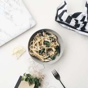 pasta,  spinach,  fresh,  bowl,  plate,  fork,  apron,  chopping board,  table,  white,  food,  italian,  spaghetti