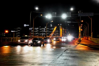 road, lights, headlights, cars, vehicles, traffic, bridge, night, driving