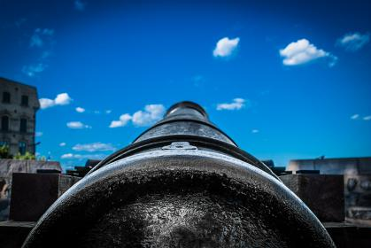 steel, old, rusty, antique, barrel, cannon, wood, wooden, building, tree, sky, clouds