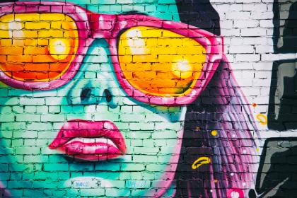 mural, spray paint, bricks, wall, girl, woman, people, sunglasses, lipstick, art, creative, street, urban