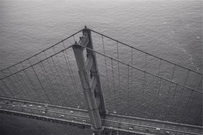 Golden Gate Bridge, San Francisco, black and white, architecture, cars, water