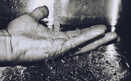 black and white, hand, fingers, running water, drop, sink, washing, liquid