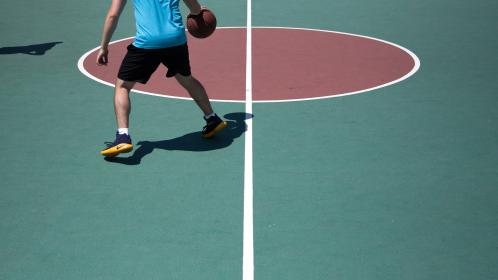 basketball, ball, spalding, court, sports, exercise, hobby, red, people, man, stance, shadow, nike, shoes, socks, game, fitness, athlete