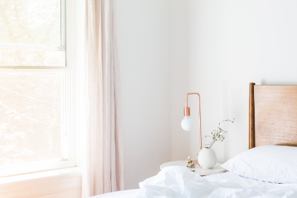 bedroom,  clean,  light,  window,  lamp,  morning,  rest,  comfortable,  soothing,  relaxing,  pillow,  sleep, bed, comfort, comforter, interior design, modern, room, inside, side table, vase