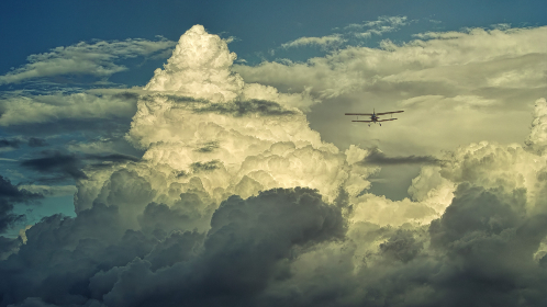 small,  plane,  clouds,  transport,  fly,  avaition,  dramatic,  blue sky,  flight,  wings