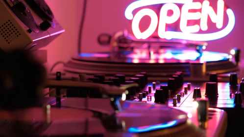 neon, sign, music, vinyl, record, audio, listen, song, play, electric