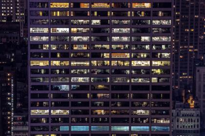 building, architecture, office, business, corporate, windows, city, urban, downtown, night, evening, lights, dark
