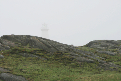 lighthouse,  coast,  landscape,  fog,  weather,   sky,   architecture,   rock,   island,   landmark,   light,   building,   scenic,   historic,   horizon,  mist,  shore