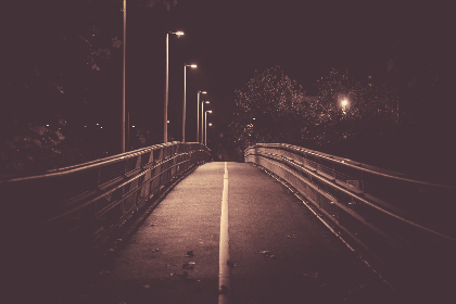 bridge,  light,  night,  glow,  dark,  yellow line,  fence,  trees