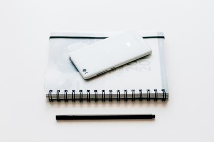 black and white, notebook, pen, mobile, phone, smartphone, gadget, touchscreen, electronic, technology, white, work, desk, table, business, office
