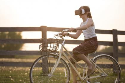 people, girl, beauty, bike, bicycle, wood, grass, trees, nature, sky, sunset, ride, virtual reality, vr