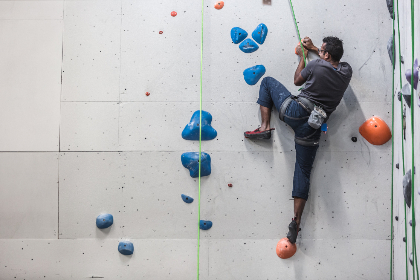 indoors,  rock,  climbing,  person,  man,  sport,  exercise,  fitness,  fun,  wall,  ropes,  athlete