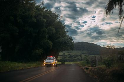 clouds, sky, nature, road, police, street, green, woods, forest, mountain
