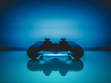 controller, video games, gaming, playstation, entertainment, fun, blue, neon, lights