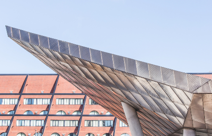 abstract,   background,   building,   modern,   perspective,   architecture,   steel,   sky,   city,  design,  brick,  reflective,  windows,  overhang,  entrance