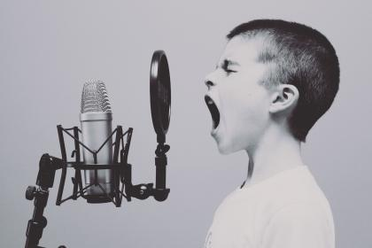 people, boy, kid, child, singing, screaming, music, microphone, filter, singer, black and white