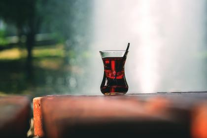 still, items, things, glass, drink, beverage, wine, carbonated, juice, tea, table, desk, outdoors, bokeh