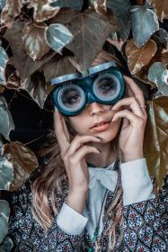 nature, plants, leaves, people, woman, lady, girl, glasses, goggles, blond