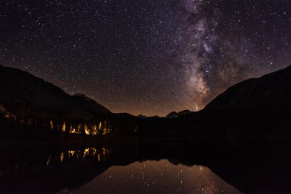 stars, galaxy, astronomy, sky, night, evening, dark, mountains, landscape, nature, lake, river, water