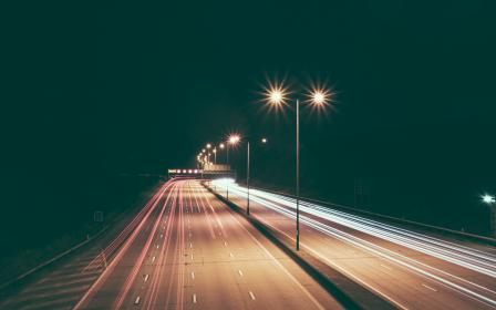 highway, road, lights, lamp posts, night, dark, evening, driving, cars