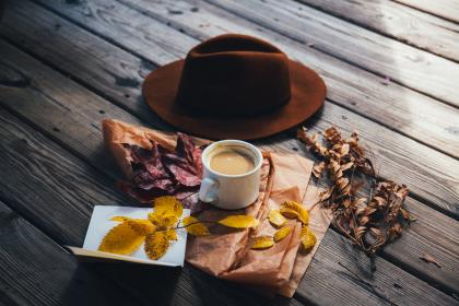 brown, cap, hat, coffee, cup, paper, leaves, fall, autumn, wood, outside