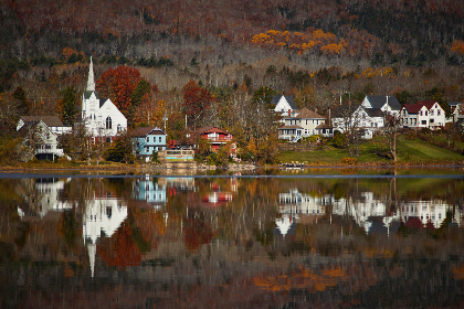coastal,  town,  water,  reflection,  shore,  coast,  buildings,  architecture,  village,  lake,  ocean,  autumn,  fall,  forest,  houses,  homes,  countryside