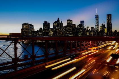 bridge, lights, city, vehicle, road, cars, traffic, buildings, clouds, water, river, infrastructure, architecture, urban, travel, tower, sky