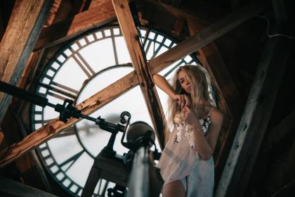 people, woman, fashion, fierce, sexy, building, establishment, architecture, structure, infrastructure, wood, clock, roman numeral, number, time