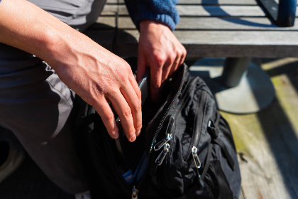 hands,   backpack,   travel,   bag,   close up,   person,   case,   zipper,   outdoors,   man,  laptop