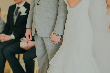 wedding ceremony,  bride,  groom, romantic,  love, people, man, woman, holding hands, hands,  suit, wedding dress,  dress