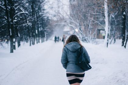 people, woman, back, walking, snow, winter, trees, plant, nature, travel, outdoor