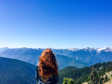 woman, adventure, landscape, blue sky, mountain, snow, peaks, red hair, view