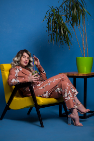 cool,  woman,  chilling,  cocktail,  yellow,  chair,  blue,  wall,  green,  vase,  plant,  highheels,  headphones,  drink,  straw