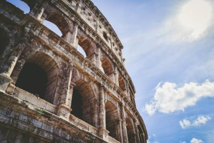 architecture, building, arches, windows, art, structure, colosseum, flavian, amphitheater, rome, italy, lines, linear, shapes, patterns, perspective, sky, clouds