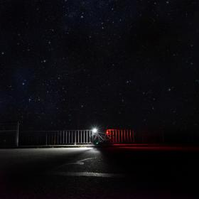 galaxy, night, stars, shooting, fence, dark, sky, nature, space, light, bicycle