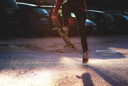 people, guy, skateboarding, shoe, footwear, sport, game, street, car, vehicle, parking