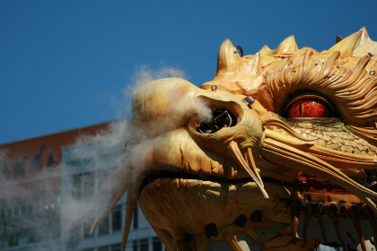 dragon,   head,   art,   statue,   sky,   celebration,   animal,   ancient,   asian,   oriental,   chinese,   festival,   power,   fantasy,   sculpture,  smoke
