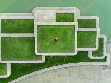 green, grass, field, architecture, people, alone, aerial