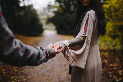 holding hands, couple, people, guy, girl, ring, tattoo, nature, blur, bokeh