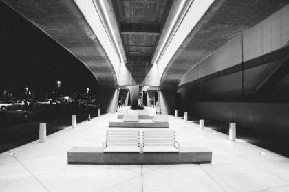 benches, night, evening, black and white, lights, city, architecture