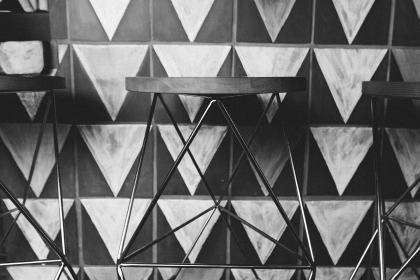 stools, triangles, black and white