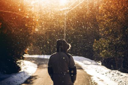 snow, winter, white, cold, weather, ice, trees, plants, nature, people, man, alone, sunset