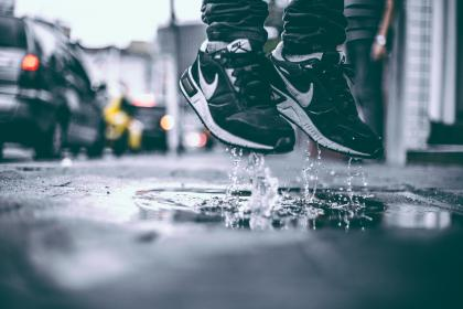 nike, shoes, sneakers, puddle, wet, raining, city, urban, lifestyle, sidewalk