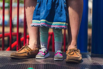 people, father, man, baby, girl, kid, child, family, bonding, outdoors, playground, park, adventure, shoes