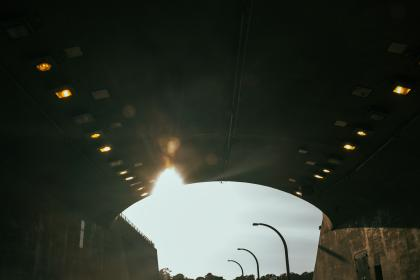 tunnel, road, overpass, road, lamp posts, lights