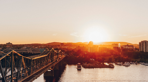 gatineau,  ottawa,  quebec,  bridge,  sunset,  water, architecture, city, sky, dusk, buildings, boats, water, cityscape