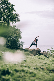woman,  yoga,  ocean,  shore,  coast,  water,  sea,  stretch,  pose,  exercise,  fitness,  healthy,  balance,  female,  alone,  trees,  meditation