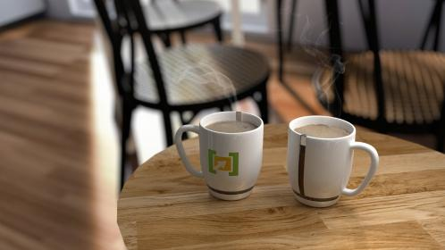 office, work, business, workspace, canteen, pantry, wood, tables, chairs, mugs, hot, coffee, smoke, colleagues, break