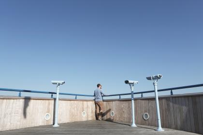 guy, man, looking, lookout, rooftop, blue, sky, sunshine, tower viewer